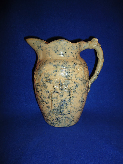 Fancy GAR Blue and White Stoneware Pitcher with Eagle & Flag #4631