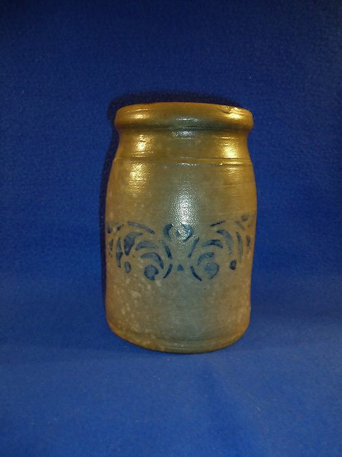 "6 3/4"" Wax Sealer Canning Jar with Floral Garland, SW Pennsylvania"
