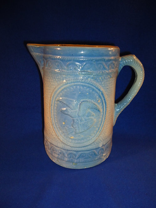 Blue and White Stoneware Pitcher in the Eagle and Shield Pattern