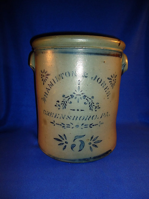 Hamilton and Jones, Greensboro, Pennsylvania Stoneware 5 Gallon Crock