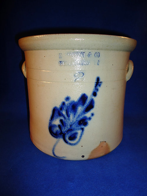 E. Norton, Bennington, Vermont Stoneware 2 Gallon Crock with Leaf