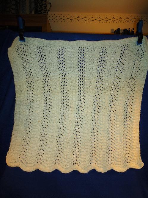 1915 White Crochetted Baby Blanket #5231