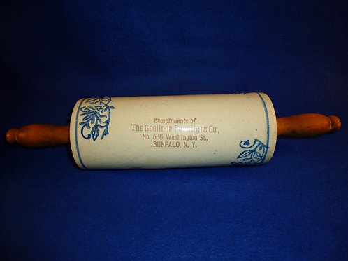 Blue and White Stoneware Rolling Pin, Goellner Furniture, Buffalo, New York