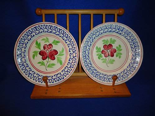 Pair of Design Spatterware Plates, Dogwood Pattern, ex. Robacker
