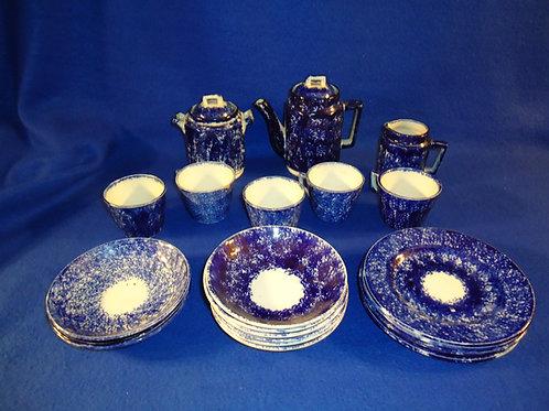 Blue and White Stoneware Spongeware Child's Teaset