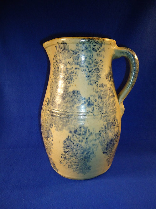 Circa 1880 Stoneware Blue and White Country Spongeware Pitcher from Ohio