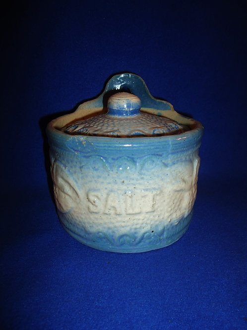 Blue and White Stoneware Lidded Salt Crock in the Eagle Pattern #5314