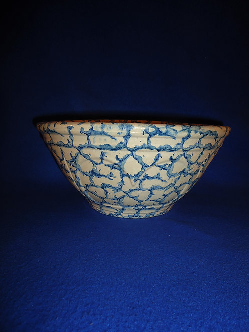 "Blue and White Spongeware 10"" Stoneware Heart Pattern Bowl #5371"