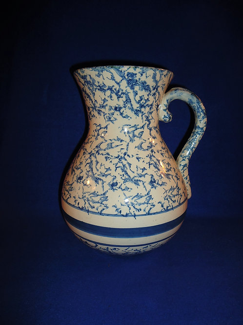 Blue and White Spongeware Stoneware Wash Pitcher, #4672