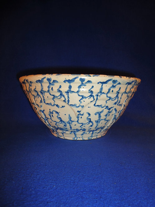 "Blue and White Spongeware Stoneware 10"" Heart Panel Bowl, Pfalzgraff #4685"