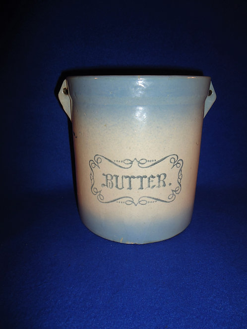 Blue and White Western Stoneware 5 LB Butter Crock #5460