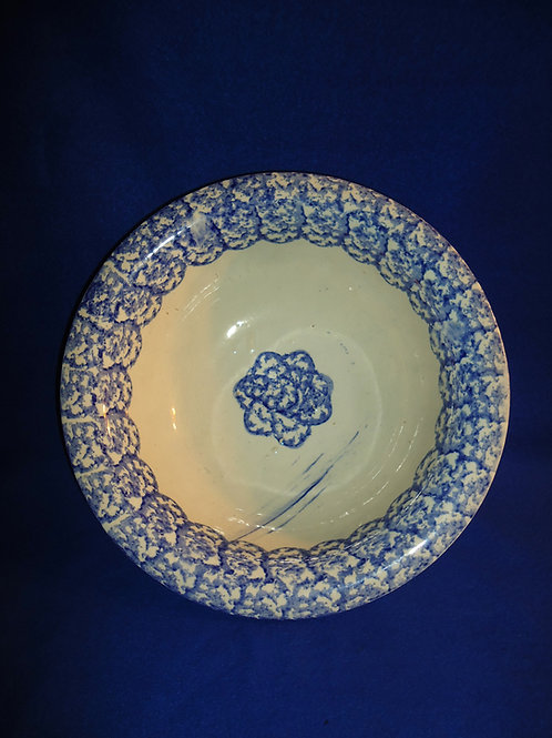 Blue and White Spongeware Stoneware Staffordshire Wash Basin #4469