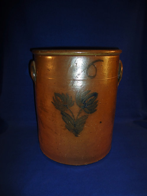 Circa 1870 6 Gallon Stoneware Crock, Midwest, 2 Tulips #5192