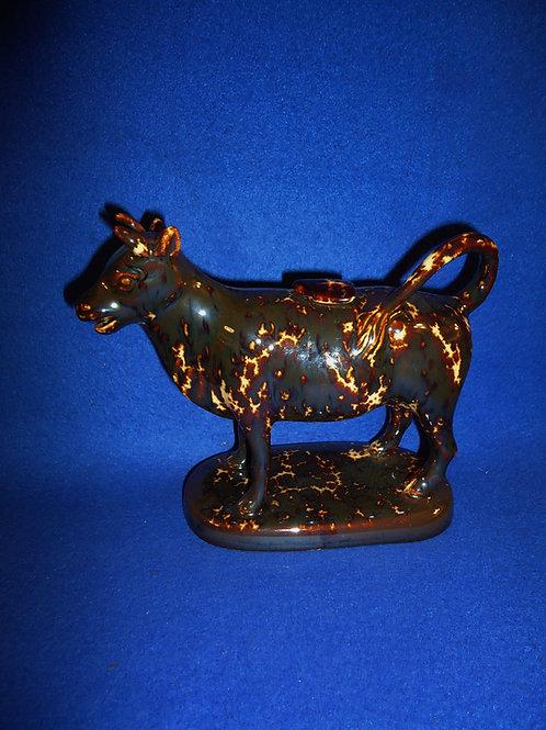 Bennington Flint Enamel Yellow Ware Cow Creamer #5583