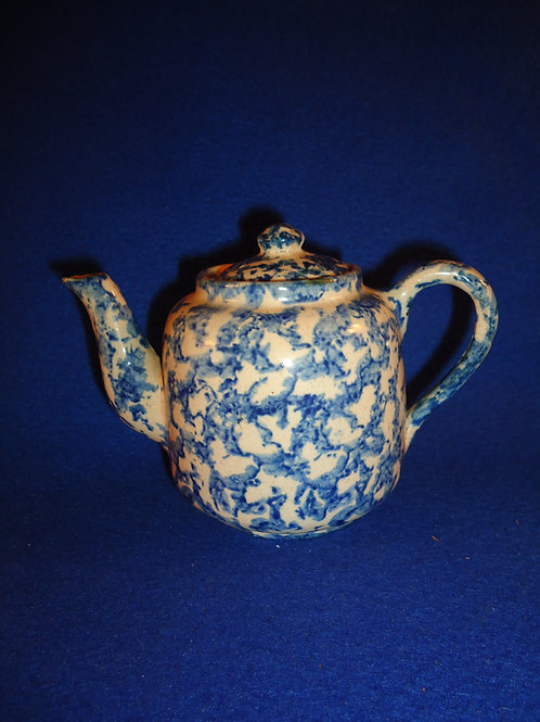 Blue and White Stoneware Spongeware Child's Teapot