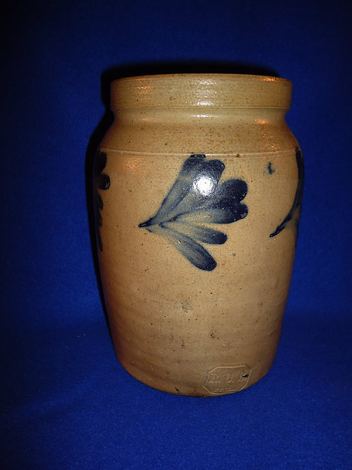 Signed Richard Remmey, Philadelphia 1/2 Gallon Stoneware Jar with 5 Leaves