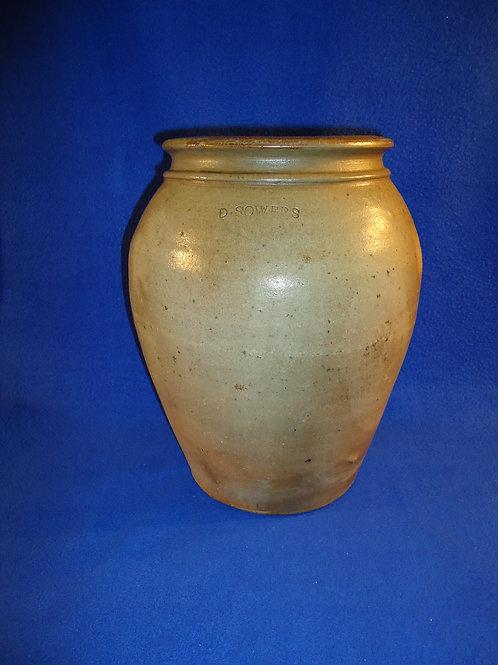 Daniel Sowers, Brush Creek Township, Muskingum County, Ohio Stoneware Jar