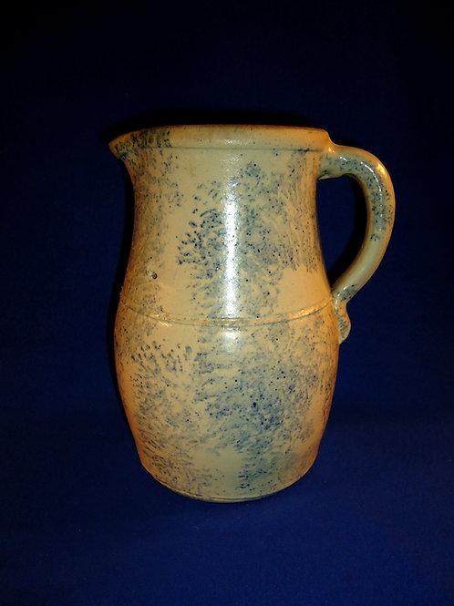 Circa 1880 Country Blue and White Spongeware Stoneware Pitcher from Ohio