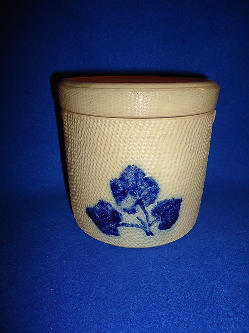 Whites Pottery of Utica, N.Y. Stoneware Canister with Embossed Leaves