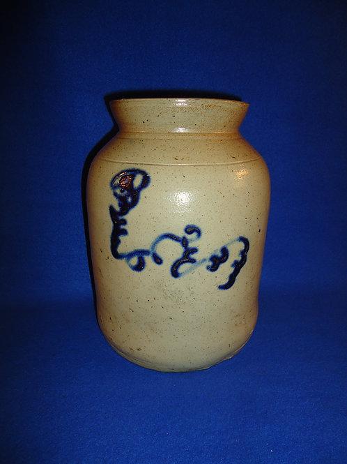 Circa 1870  Preserve Jar with Squiggle Flower; att. Smith of Norwalk, CT #5481