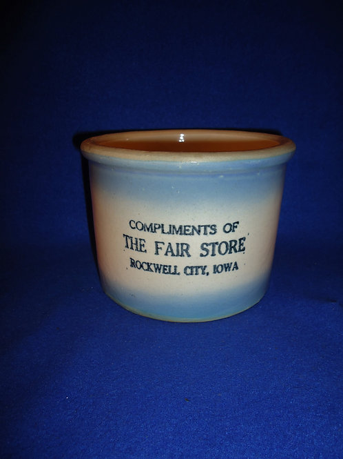 Blue and White Stoneware Butter Crock, The Fair Store, Rockwell City, Iowa #4956
