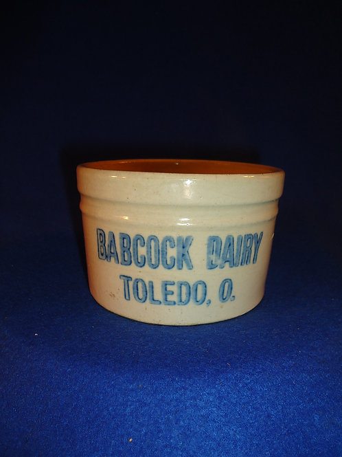 Babcock Dairy, Toledo, Ohio Blue and White Stoneware Tiny 1 lb Butter Crock
