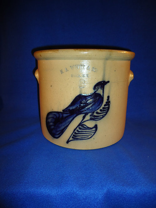 N. A. White, Utica, New York 2 Gallon Stoneware Crock with Paddletail Bird