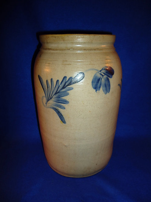 Richard Remmey, Philadelphia Stoneware 2g Jar with Tulips