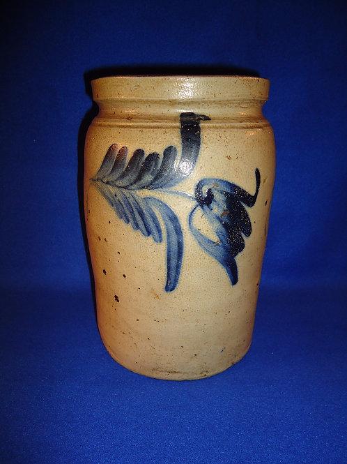 Circa 1870 Stoneware Jar with 3 Tulips, att. Richard Remmey of Philadelphia