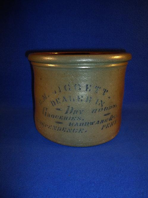 Liggett, Grocer, Independence, Pennsylvania Stoneware Butter Crock #5243