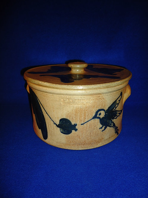 R. & B. Diebboll, Washington, Michigan Stoneware 1g Butter Crock, Hummingbirds