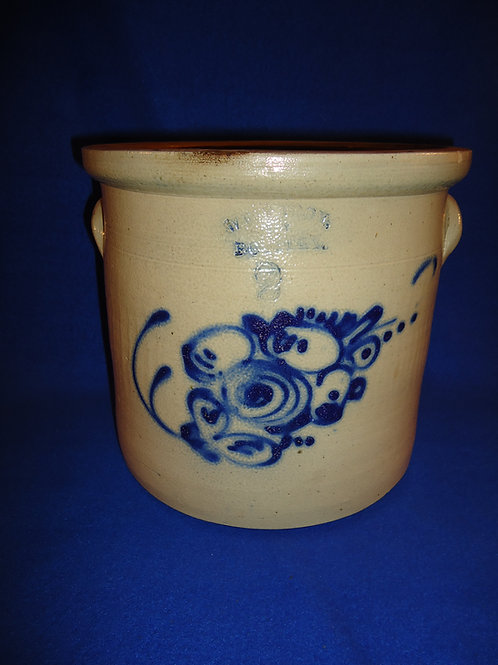 West Troy Pottery 2 Gallon Stoneware Crock with Floral #4751