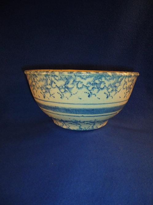 "Blue and White Spongeware Stoneware 9"" Mixing Bowl #5387"