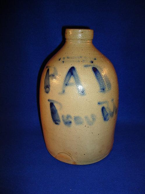 Providence, Rhode Island Stoneware Script Jug, Wright of Taunton, Massachusetts