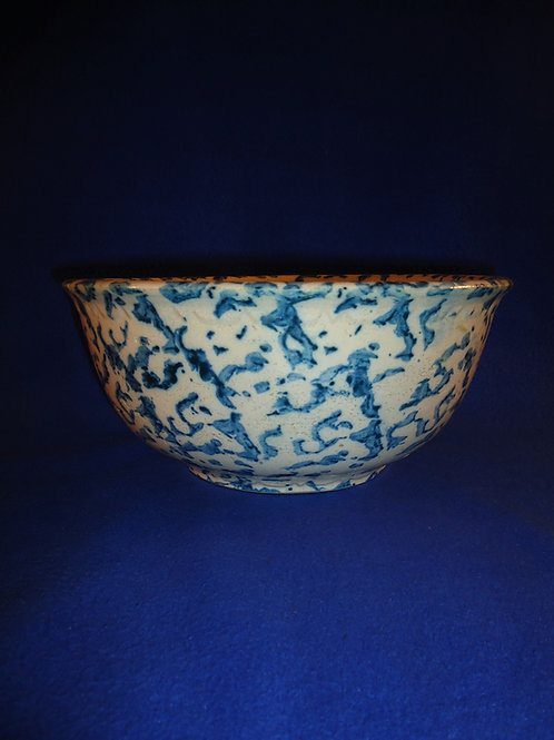 "Blue and White Spongeware Stoneware 11 1/4"" Bowl, #4682"