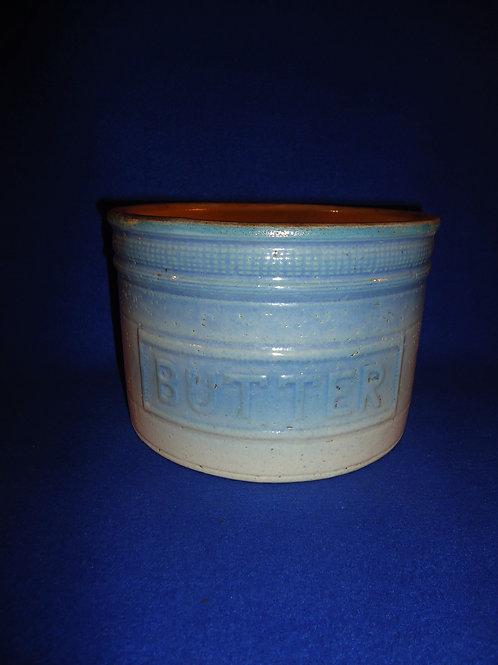 Burley & Winter, Crooksville, Ohio Blue and White Stoneware Butter Crock #5146