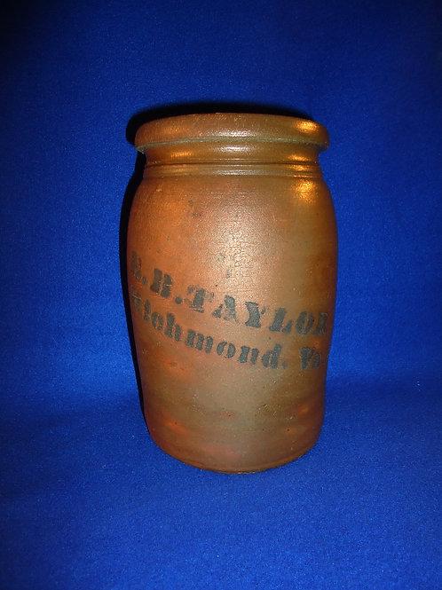 E. B. Taylor, Richmond, Virginia Stoneware Jar by Donaghho of Parkersburg, WV
