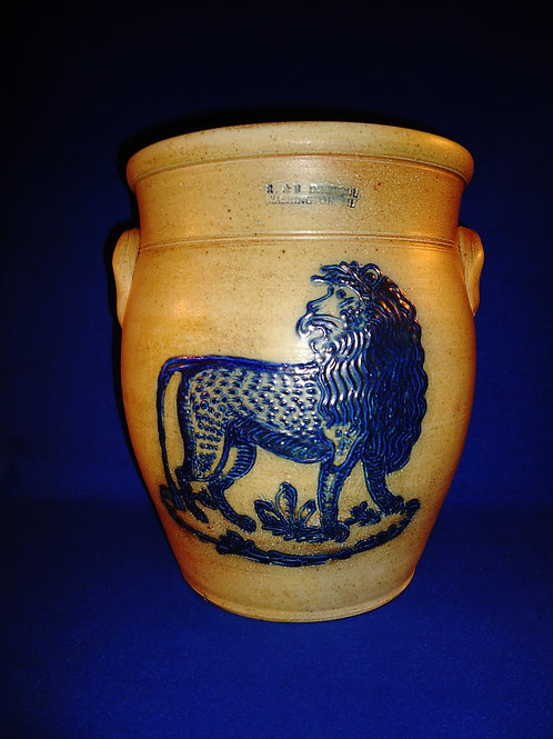 R. & B. Diebboll, Washington, Michigan Stoneware 3g Ovoid Crock with Lion