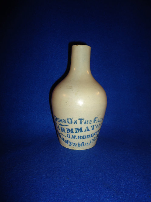C. W. Roedefer, Shadyside, Ohio Blue and White Stoneware Farmmato Jug  #4445