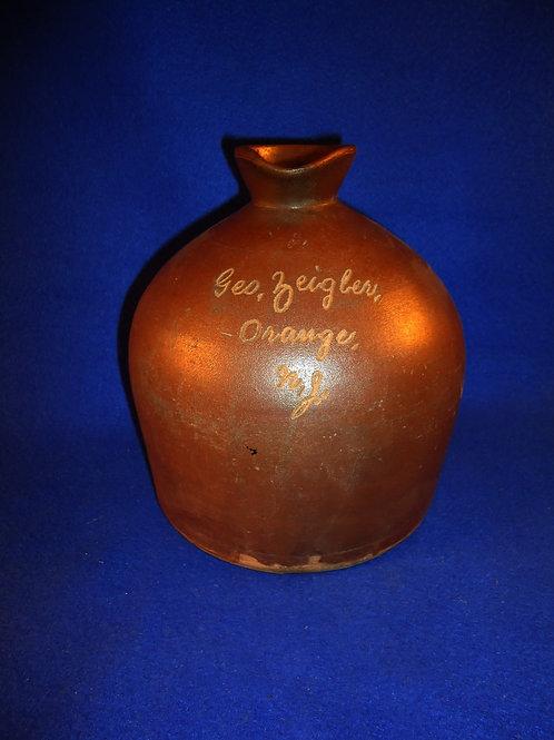 George Zeigler, Orange, New Jersey 1 Gallon Stoneware Script Syrup Jug