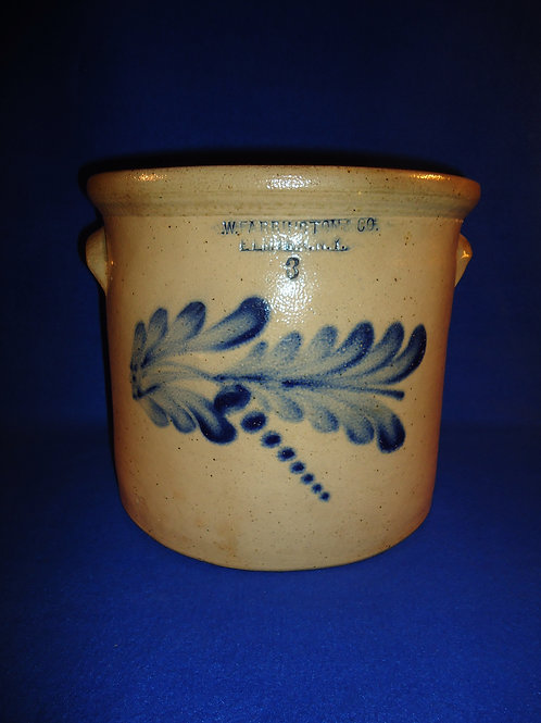 E. W. Farrington, Elmira, New York Stoneware 3 Gallon Crock #5866