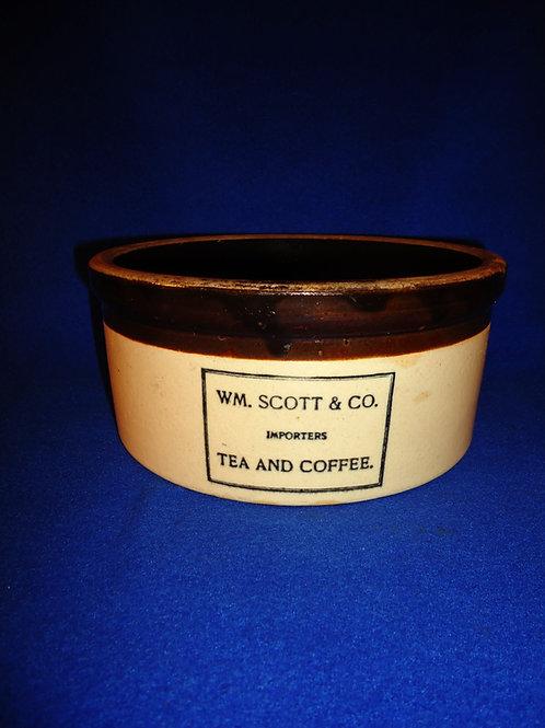 Wm. Scott, Importers, Tea and Coffee Stoneware Butter Crock, Swasey