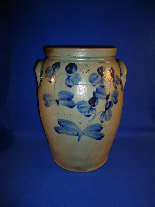 4 Gallon Stoneware Jar from Baltimore, Maryland w/ Clovers Both Sides #4987