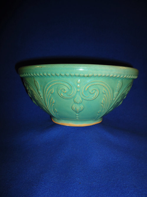 "Fancy Yellow Ware Bowl, 11"", Green Glaze, #4861"
