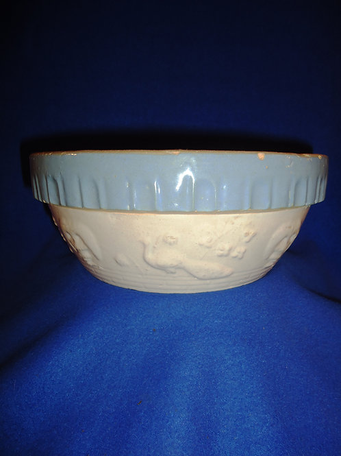 Blue and White Stoneware Peacock Bowl #5887