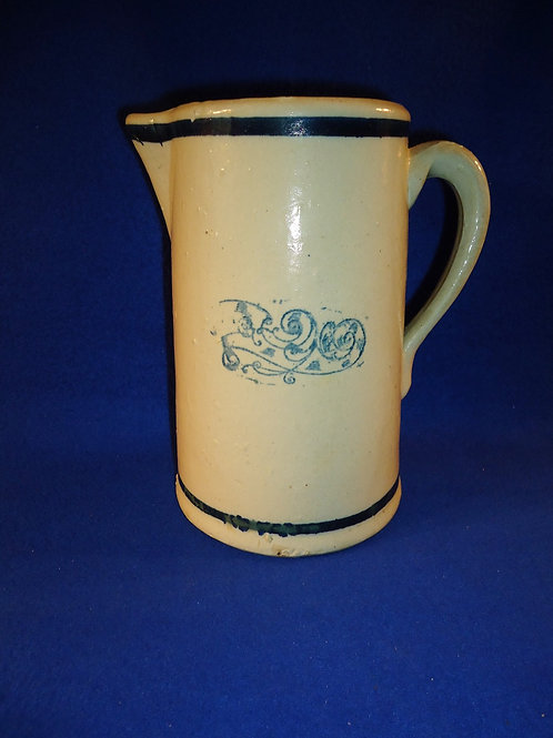 Blue and White Stoneware Pitcher in the Nautilus Pattern