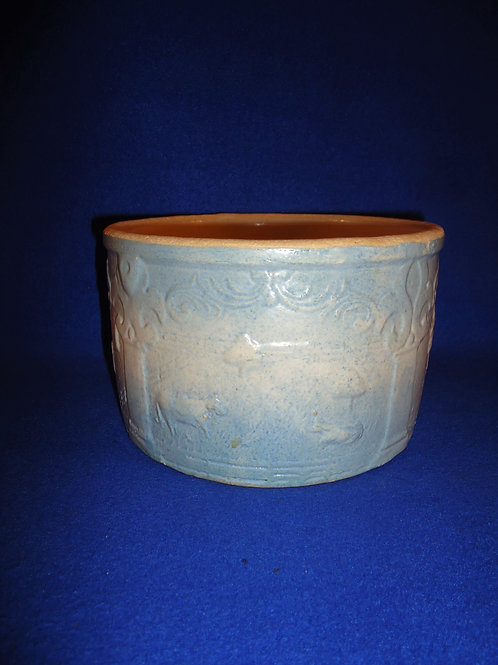 Blue and White Stoneware Fall Harvest Butter Crock,#4975