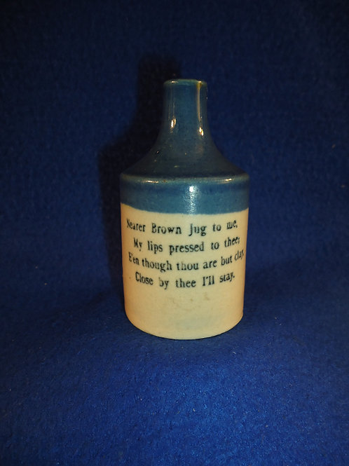 Blue and White Stoneware Mini Jug with Poem #4587