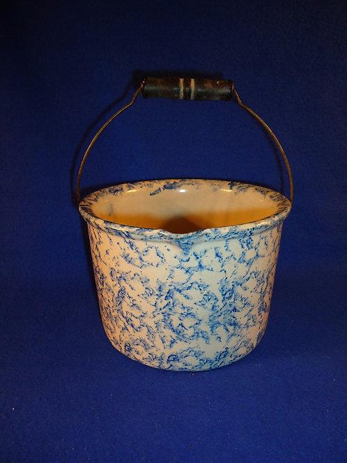 Blue and White Stoneware Spongeware Batter Pail