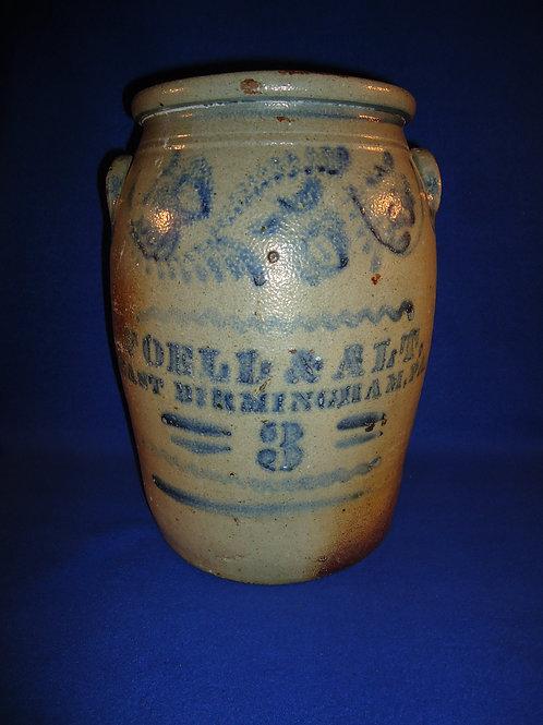 Foell & Alt, East Birmingham, Pennsylvania Stoneware 3 Crock with Freehand #4520